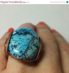 SALE Blue Stone Ring Handmade in Any Size Big by HardCandyGems, $48.36