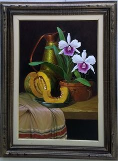 Natureza Morta com Floral. Óleo sobre tela. 40X60cm. Pedro.