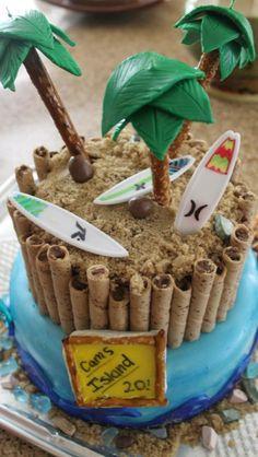 2 tier yellow cake, brown sugar and chocolate cigars, fondant trees