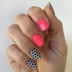 Neon Pink and Polka Mani! Jamberry's White and Black Polka wrap with Mr. DJ gel - shop at cuteclassyjams.jamberry.com