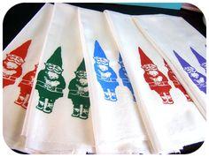 Gnomes Tea Towel Blue Kitchen Towels CUTE screenprint retro kitchen Indie Housewares wholesale gnome tea towels
