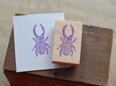 Tampon gravé à la main Insecte - Lucane  : Tampons par la-fabutineuse sur ALittleMarket