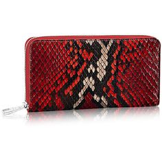 Zippy Wallet Python ($3,200) ❤ liked on Polyvore featuring bags, wallets, snake print wallet, snake print bag, red wallet, red bag and python bag