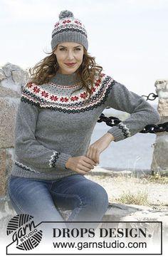 Souprava: pulovr s kruhovým sedlem s norským vzorem a čepice – kulich s bambulí pletené z příze DROPS Alpaca. Velikost: S-XXXL.