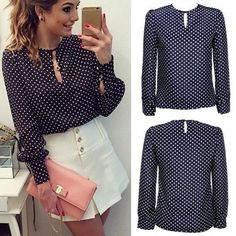 Long Sleeve Slit Open Women Blouse Chiffon Hollow Sexy Casual Shirt Plus Size Women Tops Blusas bluse Polka Dots Shirt Top 63 Casual Chic, Look Casual, Bluse Outfit, Casual Outfits, Cute Outfits, Chiffon Shirt, Look Chic, Work Attire, Blouse Designs