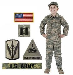 NOTE: Customer Feedback Indicates that These Uniform Sizes Run SMALL BEST SELLER! Great gift idea for a Kids Military Halloween Costume, Birthday, Christmas or for everyday play and wear! When you order 1 package you will receive: 1 Kids ACU Jacket 1 Kids ACU Pants 1 Kids T-Shirt 1 Kids ACU Ball Cap (ONE SIZE FITS ALL) 1 Personalized ACU Name Tape 1 U.S. Army Branch Tape 1 U.S. Flag Patch 1 Random Rank Insignia 2 Random Authentic Army Unit Patches IMPORTANT PLEASE READ: CUSTOM NAME TAPES are…