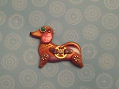 Red Dachshund STEAMPUNK dog pin handmade OOAK gears by PawsnClaws, $19.95