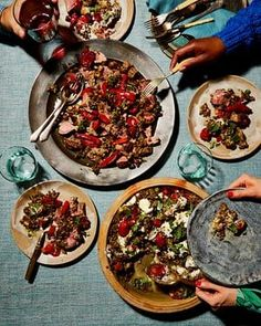 Yotam Ottolenghi's grilled lamb fillet with almonds (centre) and puy lentils with roasted aubergine