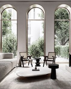 Home Decor Living Room Arched windows and modern timeless decor.Home Decor Living Room Arched windows and modern timeless decor Design 3d, Lounge Design, Design Homes, Design Case, Design Living Room, Design Room, Home Interior Design, Interior Architecture, Interior Decorating