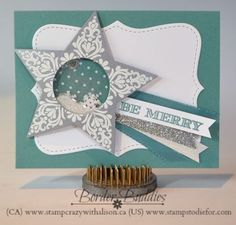 An elegant card using the Bright & Beautiful stamp set along with the matching Star Framelit dies to create a shaker card.  The words are from the Holiday Invitation stamp set.