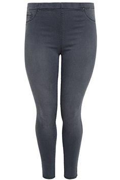 065b93baf1ac3 Yoursclothing Plus Size Womens Denim Jeggings With Faded Leg Detail Size 30  28 Grey   Check