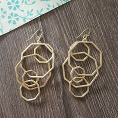 """Textured Mobile Modernist Geometric Art Earrings A piece of wearable art. These geometric mobile earrings are linked together perfectly to create plenty of movement for a continuously evolving look. Measure 2.5"""" Jewelry Earrings"""
