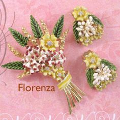 Florenza Vintage Brooch and earring set.  gemsforgood on ETSY