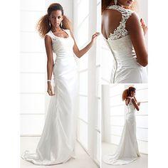 Lan Ting Sheath/Column Plus Sizes Wedding Dress - Ivory Sweep/Brush Train Scoop Charmeuse – CAD $ 204.32