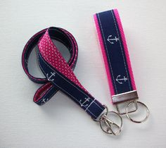 Anchors Lanyard and Key fob Keychain Set  with hot pink by Laa766