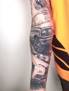 realism black and grey car sleeve tattoo by in melbourne, australia. Third Eye Tattoos, Melbourne Australia, Sleeve Tattoos, Black And Grey, Car, Sleeves, Fashion, Tattoo Sleeves, Moda