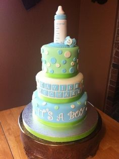 baby shower cake By ladyfon on CakeCentral.com