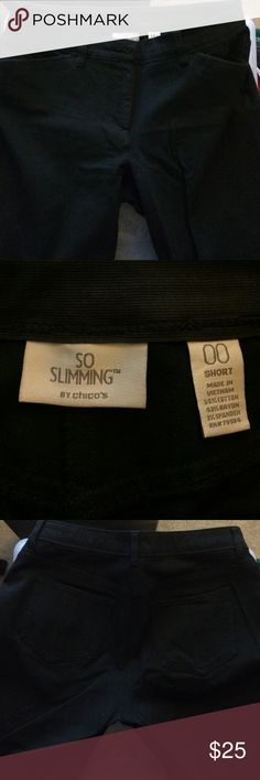 Chico's So Slimming black pants short 00 Worn a couple of times but in great condition. Inseam is 28. Color not faded. Wrinkles from storage. Size about equal to size 6. Chico's Pants