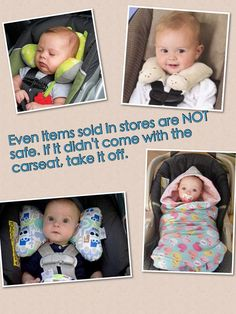 DON'T USE Aftermarket Car Seat Products!!! **The ones in the pictures are NOT safe!** Along with many other aftermarket products not pictured here.