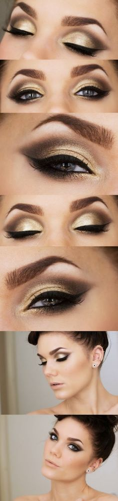 5 Elegant Gold Smoky Eye Makeup Ideas