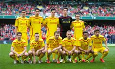 Liverpool wore their brand new Warrior 2014-15 away kit for the first time as th... - http://footballersfanpage.co.uk/liverpool-wore-their-brand-new-warrior-2014-15-away-kit-for-the-first-time-as-th/