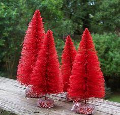 Red Bottle Brush Christmas Trees