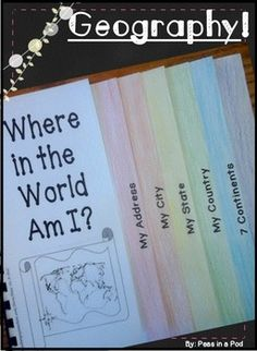 """Me on the Map ~ Geography Activity! (US) Creates a super cute 7 page """"Me on the Map"""" geography book. This helps teach some of the most basic """"must know"""" geography! $"""