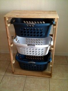 Pallirondack Laundry Basket Dresser --- Add some wheels and this would make a nice mobile Maker Space.