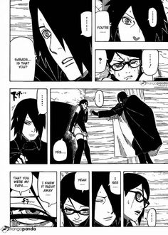Sarada finally meeting her father Sasuke! Even though it was a rough encounter it's still cute :'D #Sasuke#Sarada