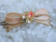 vintage Celluloid  hair barrette soft pale pink bow with posies