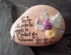 Angel memorial ornament,stone memorial keepsake,biblical script ornaments,sympathy/remembrance gifts,remembrance wording ornaments. by Pebbles4Thought on Etsy
