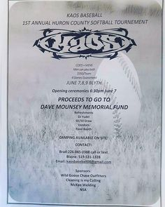 Join the kaos this june in Blyth Ontario! Co ed and mens slow pitch tournament. Huron County, Slow Pitch, Ontario, June, Baseball, Park, Instagram, Summer