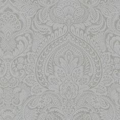 2665-21409 Pewter Damask - Alistair - Avalon Wallpaper by Decorline