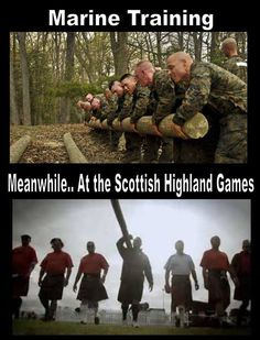Marine training vs. Scottish Highland Games