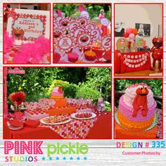 Girly Elmo Printable Birthday Party Package-