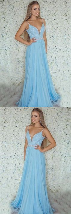 Spaghetti Straps Light Blue V-Neck Beading Long A-Line Prom Dresses Prom, This dress could be custom made, there are no extra cost to do custom size and color