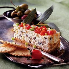 Savory feta cheese combines with basil, oregano and pepper creating a beautiful appetizer, worthy of the best New Year's parties. Greek Appetizers, Appetizer Recipes, Greek Desserts, Land O Lakes Recipes, Savory Cheesecake, Food For A Crowd, Greek Recipes, Thing 1, Cheese Recipes