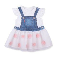 This item starts shipping in May Made from skin-friendly organic cotton Comfortable clothing, no irritating tags or seams Also available in white colour For babies in siz… Printed Denim, Comfortable Outfits, Flower Prints, Pink Dress, Pink Flowers, Organic Cotton, Girl Outfits, 3d, Summer Dresses