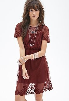 Floral Embroidered Mesh Dress   Forever 21 - 2000056494