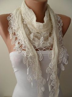 Creamy White Cotton and Summer Scarf with Creamy White Trim Edge...