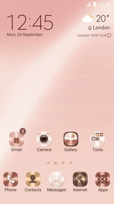 Rose Gold Theme home screen