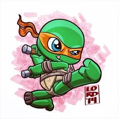 Chibi Mikey by lordmesa Baby Ninja Turtle, Ninja Turtles Art, Teenage Mutant Ninja Turtles, Ninja Turtle Drawing, Ninja Turtle Tattoos, Cartoon Drawings, Cartoon Art, Cute Drawings, Graffiti Characters
