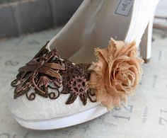 LIZBETH romantic Victorian, vintage inspired steampunk wedding shoes, made to order sizes 5 - 11, 12 via Etsy