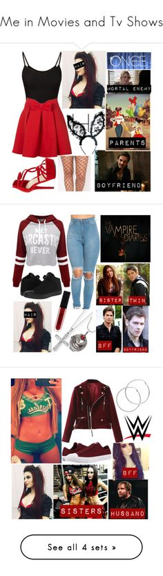 """Me in Movies and Tv Shows"" by amesqueda ❤ liked on Polyvore featuring WithChic, Jessica Simpson, Once Upon a Time, Kevin Jewelers, Converse, Alexander McQueen, Melissa Odabash, WWE, Miz Mooz and Doublju"