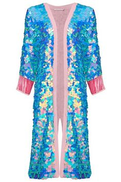Dreamy pink, aqua, and lilac long sequin duster kimono. A stunning and easy-to-wear showpiece. Female model also wears the Sea Circus Sequin Playsuit in Ameth