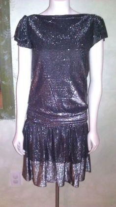 Vintage 1980s Dress Silver Black Lurex Metallic Mini Party Dress 20s Style Sz S