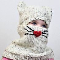 Cody CAT Set (hat+cowl) pattern by April Miller Halloween Knitting Patterns, Knit Patterns, Knitting Projects, Love Knitting, Baby Hat Knitting Pattern, Patron Crochet, Knitted Cat, Yarn Ball, Knit Cowl