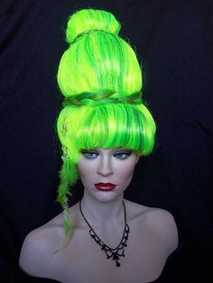 Highlighed Yellow/Green, oversized Lady Gaga/I Dream Of Jeannie, Drag Wig