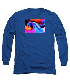 Abstract Wave Super Colorful Long Sleeve T-Shirt featuring the painting Caught Curl by Expressionistartstudio Priscilla-Batzell