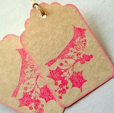 Tea stained tags with cherry bird design.